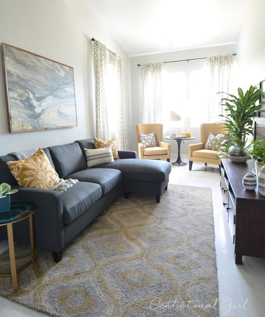 shelter family room gray yellow
