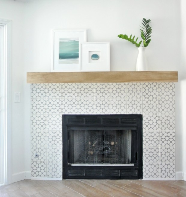cement tile surround fireplace makeover