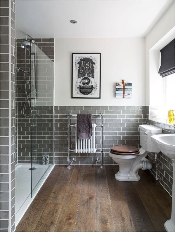 wood floor gray tile bathroom