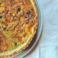 Tarte aubergines, gorgonzola et pignons de pin