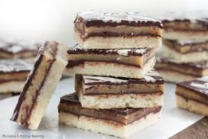 Chocolate caramel shortbread cookie bars