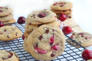 Soft chewy cherry chocolate chip cookies