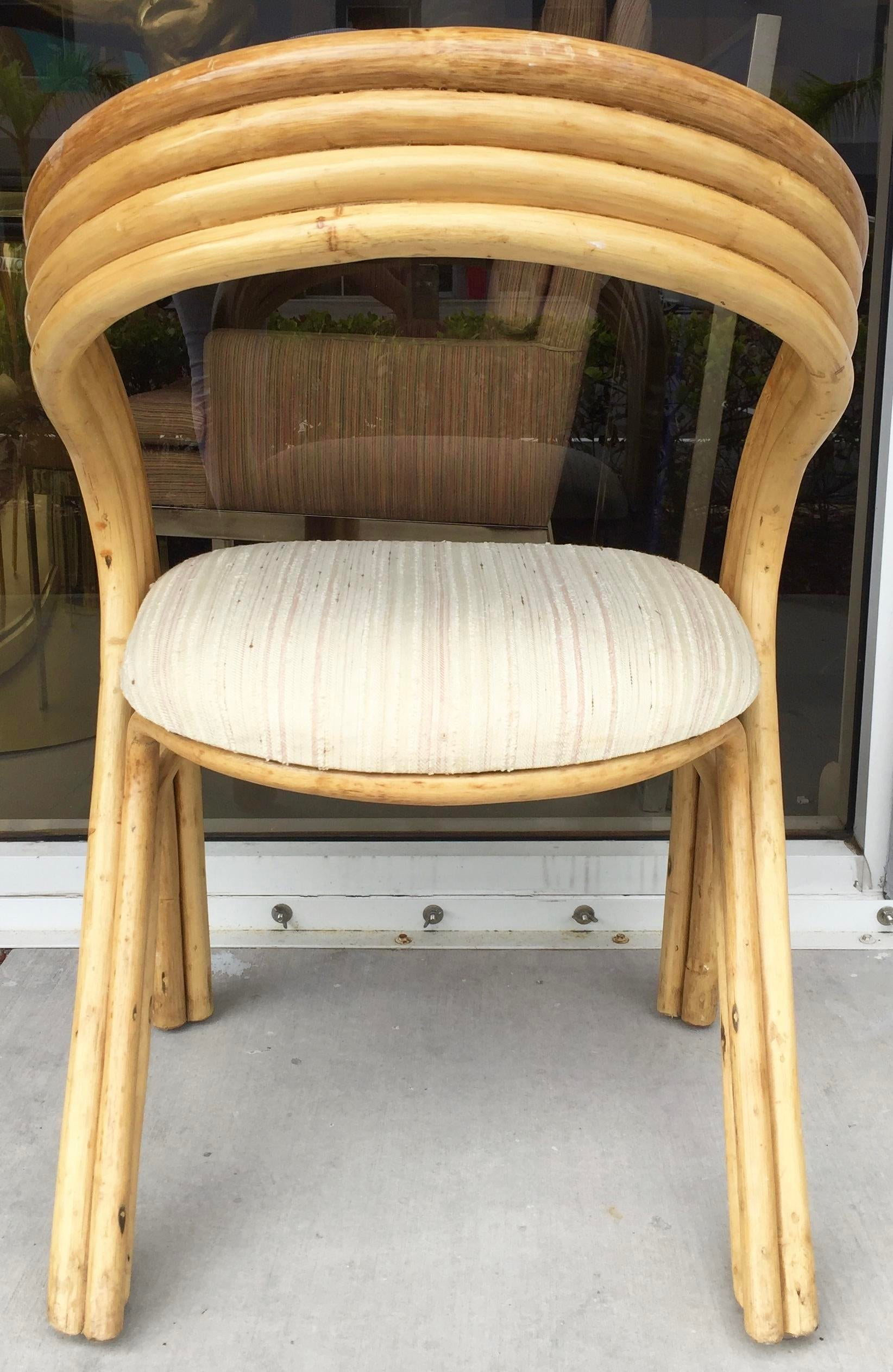 O Asian Inc Curved Bamboo Accent Chair Chairish