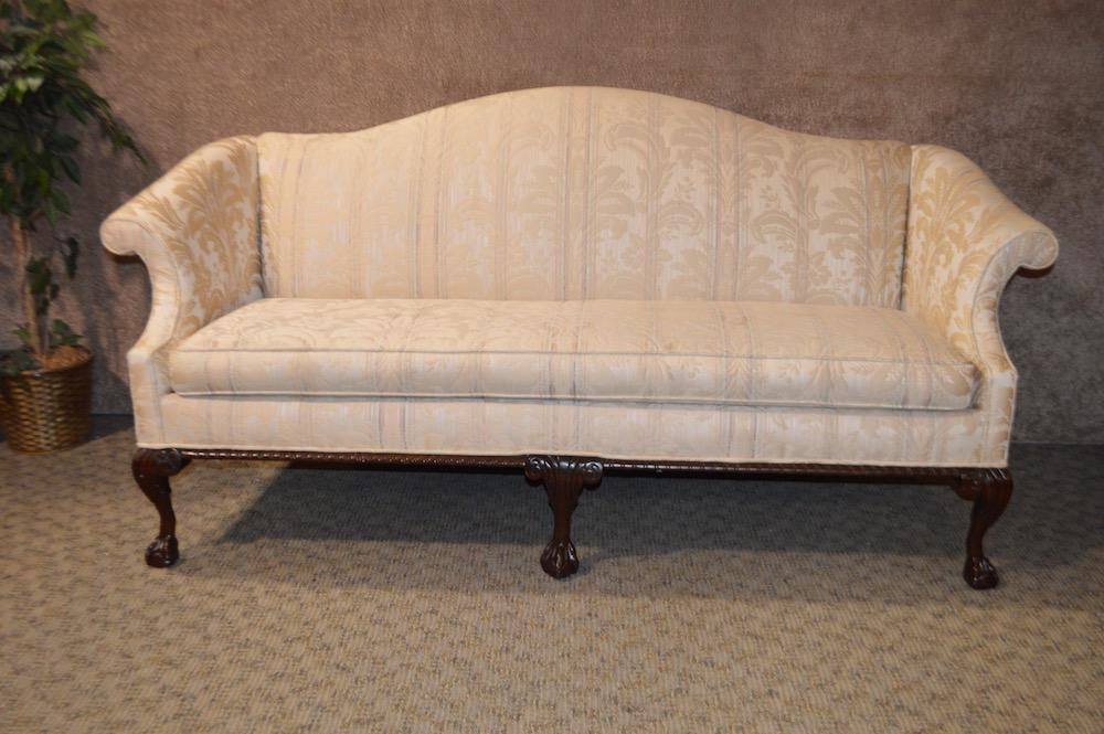 Vintage Chippendale Style Rolled Arms U0026 Claw Foot Camelback Sofa For Sale   Image 5 Of Camelback Sofas For Sale N35
