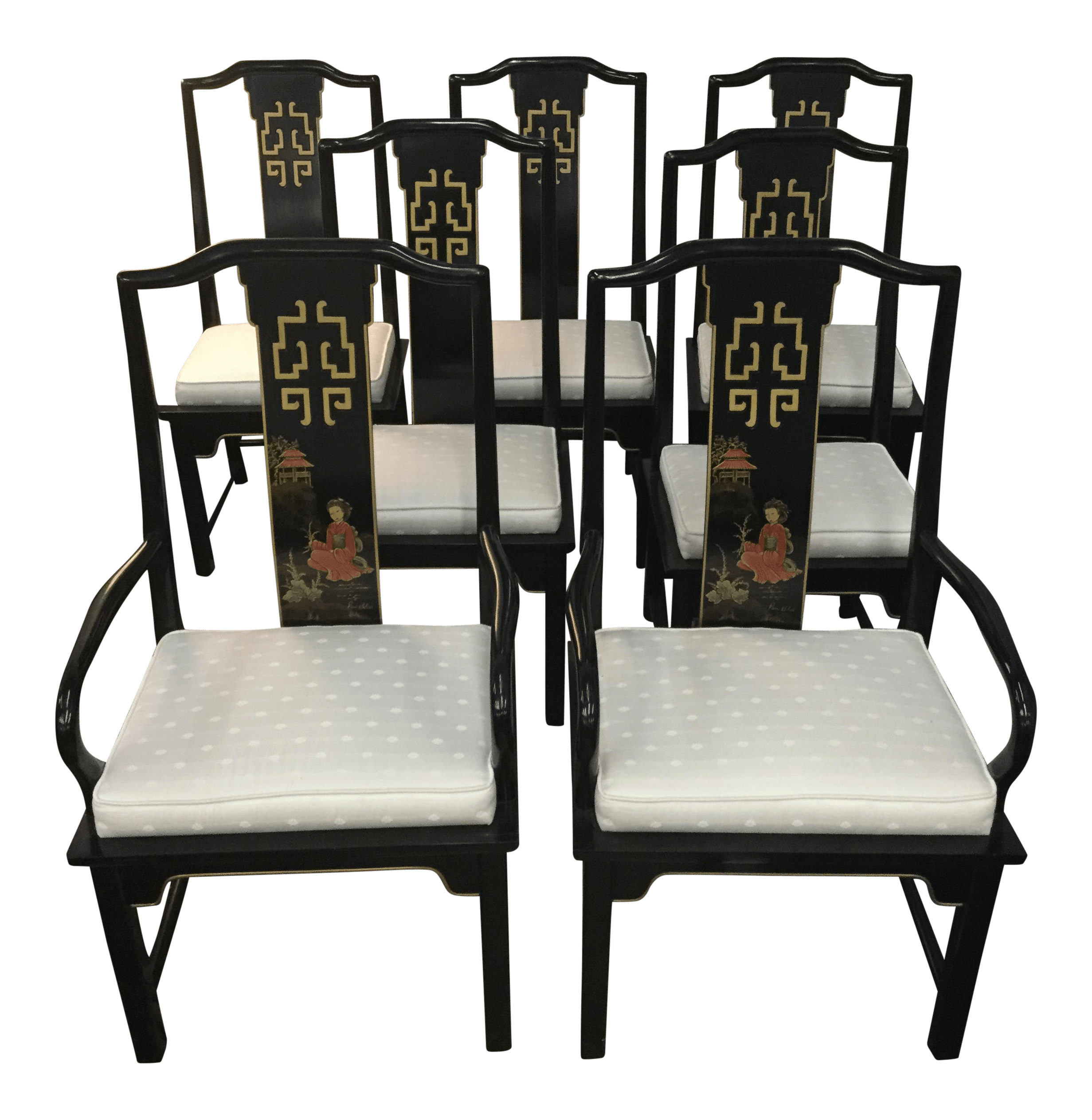 century asian style dining room chairs set of 5 furniture