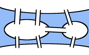 Diagram showing the bridges in Königsberg. If you have not seen this puzzle before, you may like to try to find a route crossing them all exactly once before reading on.