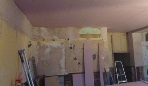 The pink ceiling (no it's not staying that colour) and the walls pre-plasterboard.