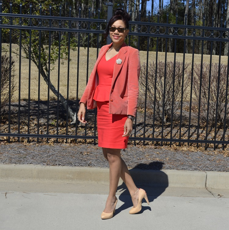 coral-peplum-dress