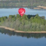 The Blogger Balloon over Trakai lakes