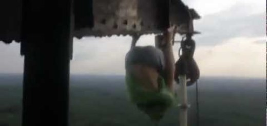 This Is What A Russian Does On Drugs – Climbing Towers For A Workout