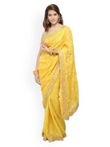 Yellow Embroidered Saree (Image Courtesy: Jashn)
