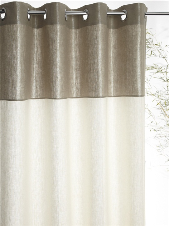 rideau bicolore argentecc81 en lin cyrillus charonbelli 39 s. Black Bedroom Furniture Sets. Home Design Ideas