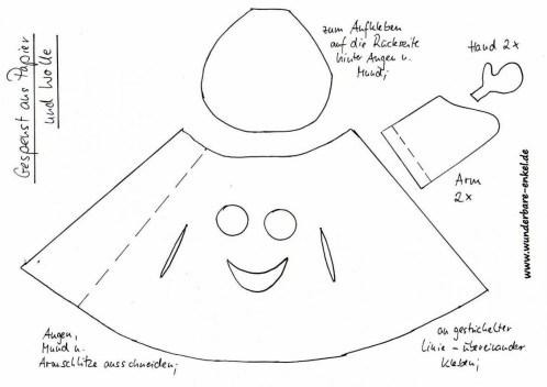 Schablone-Gespenst-Wolle-Papier