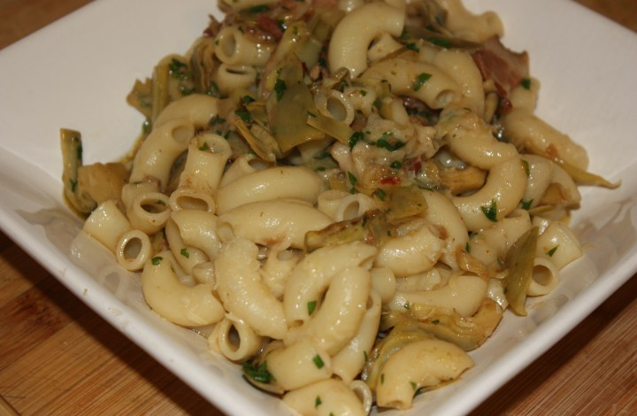 Pasta with Bacon and Artichokes