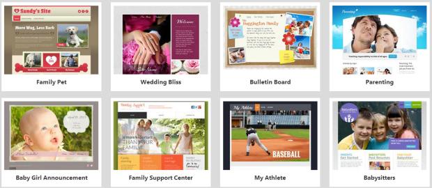 website builder family templates