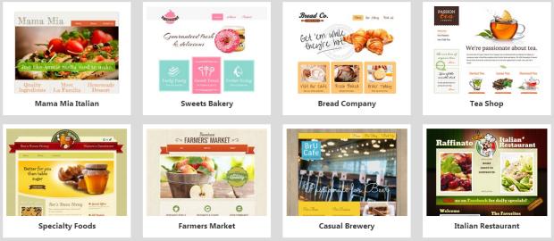 website builder food templates
