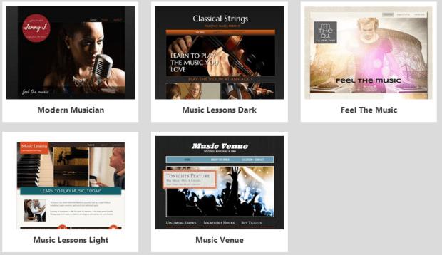Website Builder Music Templates