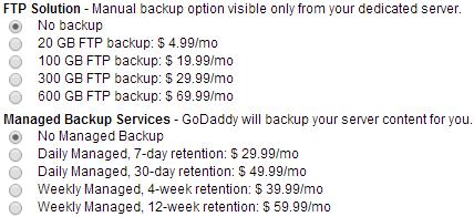 dedicated server backup plans