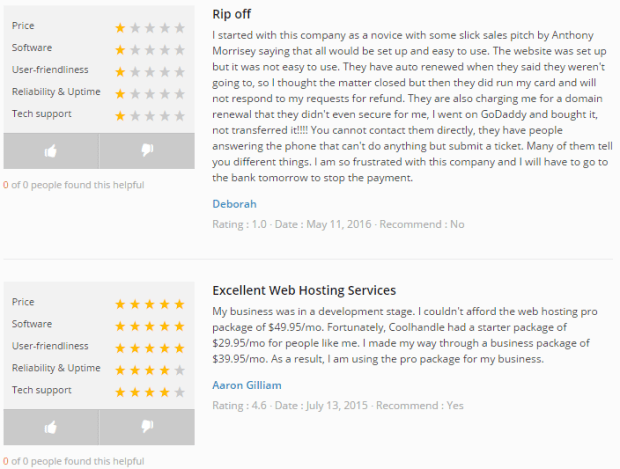 CoolHandle Customers Reviews Webhostinggeeks