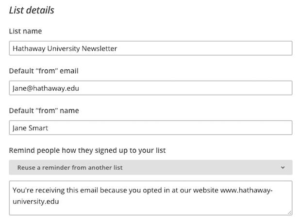 mailchimp create list