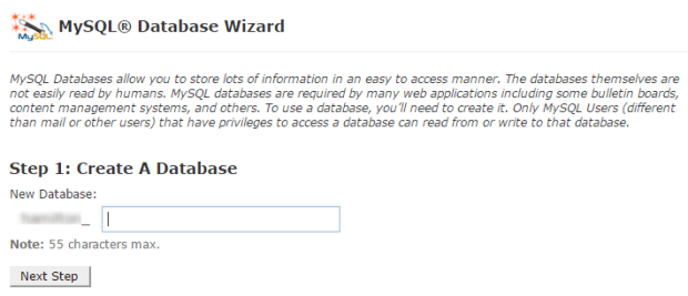 create database using wizard