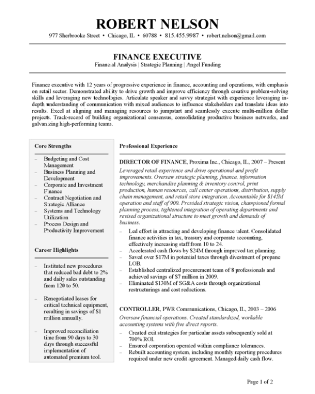 choose the resume templates that professional resume writers use    intermediary  amp  executive level resume template   quot  columns quot