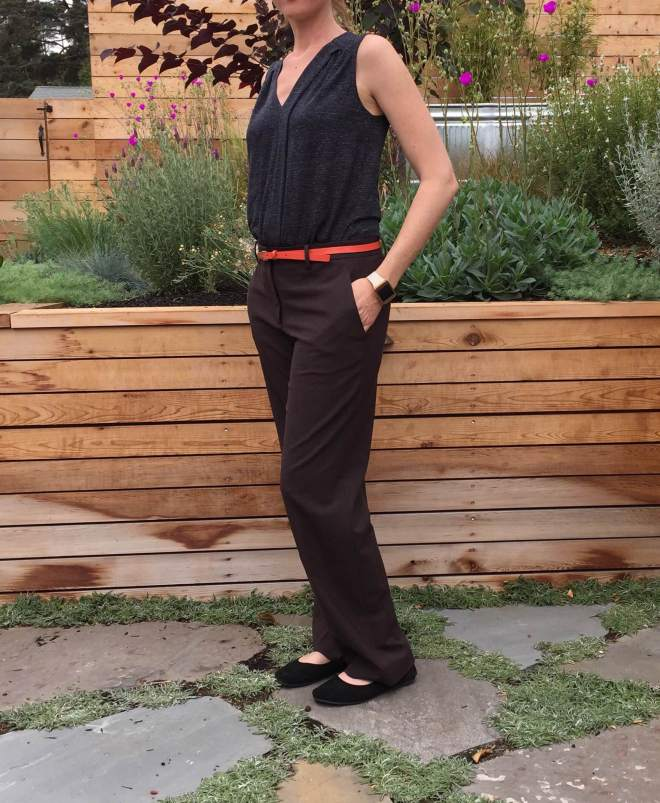 sleeveless blouse and rayon blend pants.