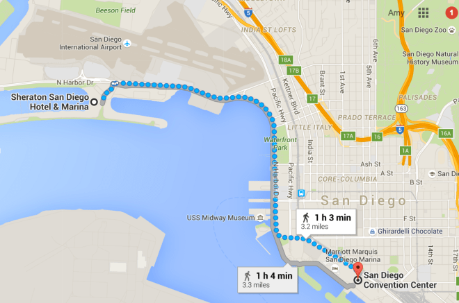 Map showing the distance from my hotel to the San Diego Convention Center.