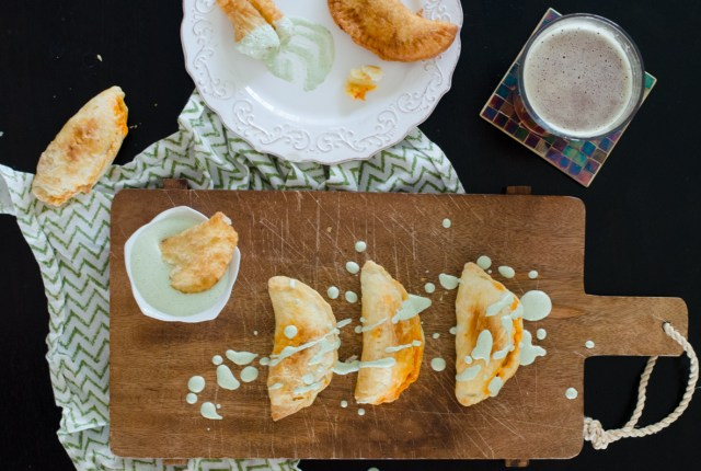Chorizo Empanadas with Cilantro Cream from ChefSarahElizabeth.com