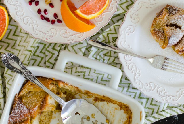 Dairy Free Challah French Toast Casserole recipe from ChefSarahElizabeth.com