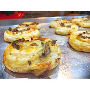 Assorted Puff Pastry Pinwheels Cheese Pinwheels Pizza Dough Ham Cheese Pinwheels Made Mushrooms Ham Muenster Cheese Pizza Dough