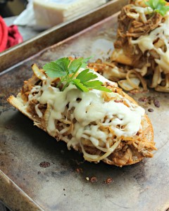 Sweet Pulled Pork and Onion French Bread Pizza