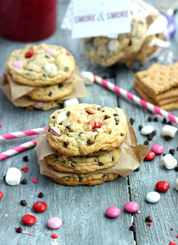 Cookies filled with graham crackers, chocolate, and marshmallows