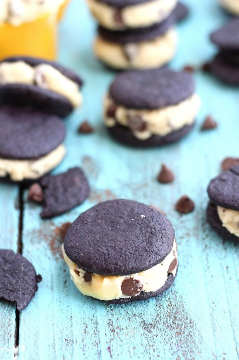 Homemade Oreos with Cookie Dough Frosting