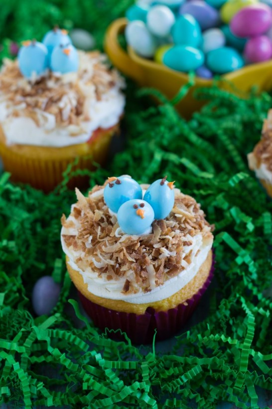 Easy Easter Cupcakes with M&M Birds
