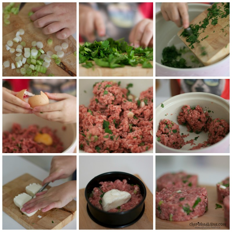 Even the smallest of children can make their own mozzarella burgers