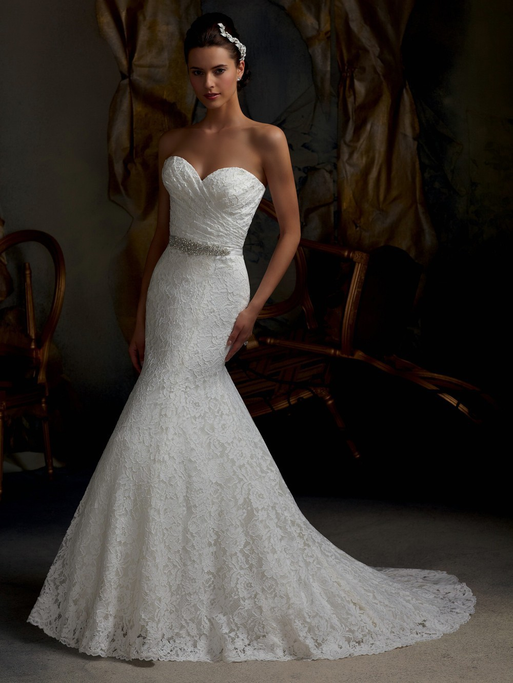 Mermaid Lace Wedding Dress With Bling Cherrymarry