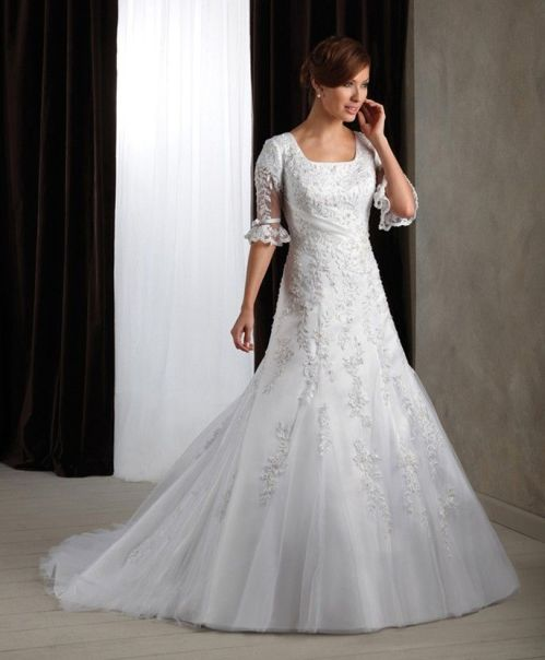 A Collection Of Modest Wedding Dresses With 3 4 Sleeves