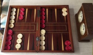 "Antique Ivory Backgammon Pieces, 1.45"" x 3/8"""