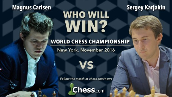Magnus Carlsen vs. Sergey Karjakin. Face off for the World Chess Championship of 2016.