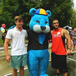 CityTeam staffers (from left) Ryan Banche and Ed Brastowicz escorted Percy, the Keystone First mascot, through the crowd.