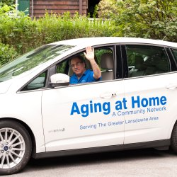 The Aging at Home program has expanded its services and now offers transportation to seniors living in the Greater Lansdowne area. Drivers will pick seniors up in this specially marked vehicle.