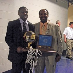 Legendary former Chester High School basketball coach Fred Pickett (right) is shown here with then- head coach Larry Yarbray enjoying another state championship. Pickett, the most winning coach in Chester Clippers history, past away in 2014