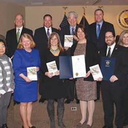 Delaware County Council recognized the work of author Dr. Terri Erbacher along with members of the Delaware County Suicide Prevention Task Force at a recent County Council meeting. Shown are, from left, Task Force members Nikole Heilmann, William Penn School District; Ellen Chung, Elwyn; Intercommunity Health Director Maureen Hennessey, Dr. Erbacher, Council Vice Chair Colleen Morrone, co-author Dr. Jonathan Singer; DCIU Assistant Director Maria Edelberg and DCIU staff Tracey Wolf; and (back row) Task Force member David McKeighan, Delaware County Medical Society, and Council members John McBlain, Dave White, Chairman Mario J. Civera, Jr. and Michael Culp.
