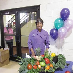 Delilah Winder is a celebrity chef who brought fresh produce to Chester City residents attending the Empowerment Tour. Winder created smoothies and passed around healthy snacks for attendees while they watched the panel discussion.