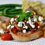 Pork Chops with Fresh Tomatoes, Onion, Garlic, and Feta