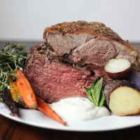 Mediterranean Spiced Roasted Leg of Lamb with a Yogurt Mint Feta Sauce