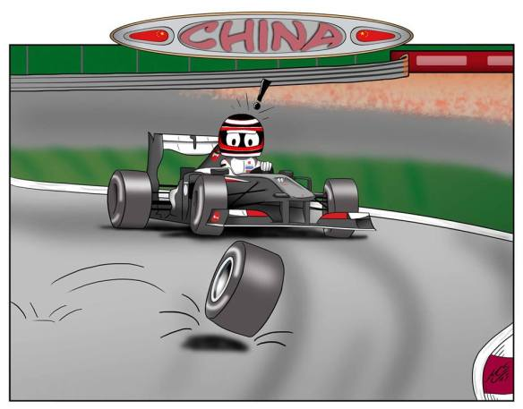 """""""3. China … at least Mark's tyre is flying! A great, but short, duel with Seb; at the end of the day: 1 point."""""""
