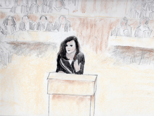 Courtroom Drawing of Rasmea Odeh by Deb Yanpoolen.