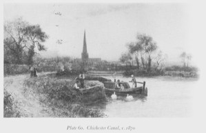 Steam barge at Padwick with view of cathedral